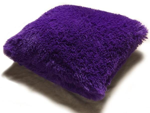 Set Of 2 Shaggy Fur Toss Throw Pillows, PURPLE