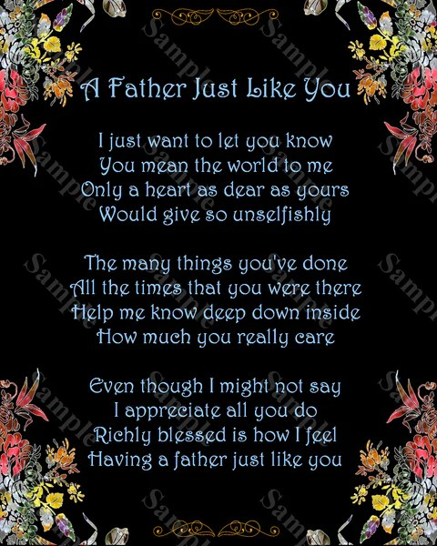 Fathers Day Gift A Father Just Like You Poem Gift For Dad