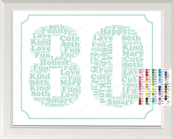 Personalized 80th Birthday Word Art Birthday Print 80th