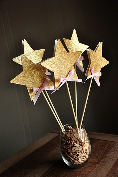 Fairy Wands For Pink And Gold Birthday Party Decoration