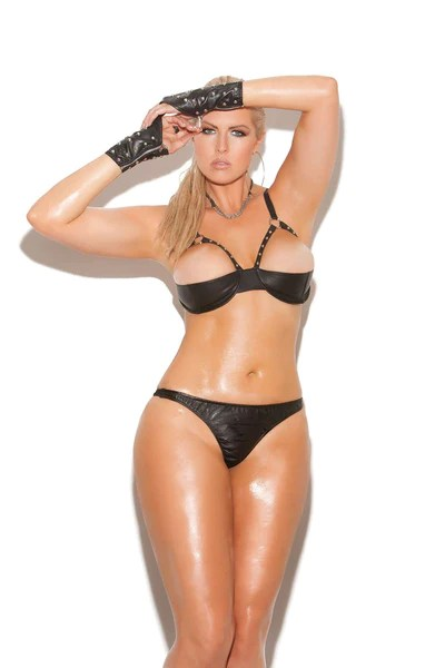 Plus Size Leather Halter Demi Bra With Underwire Cups