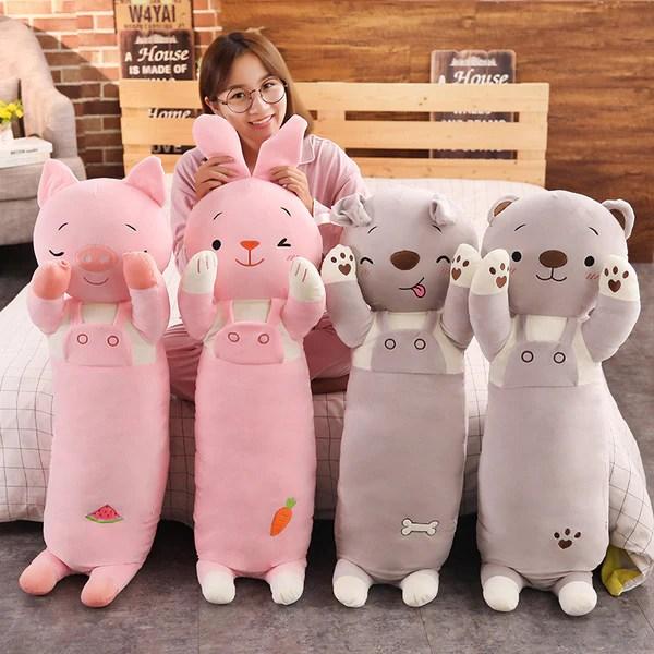 cute plush toy long body pillow bunny toy dog stuffed animal cushion
