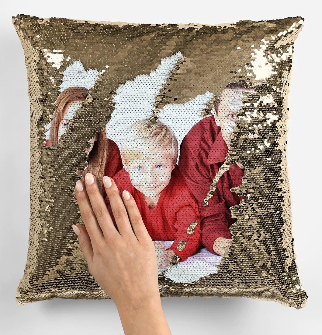 photo upload sequin magic cushion
