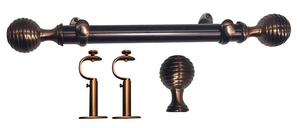 Metal Adjustable 125in Dia Drapery Rod Set In Cabernet With Concent