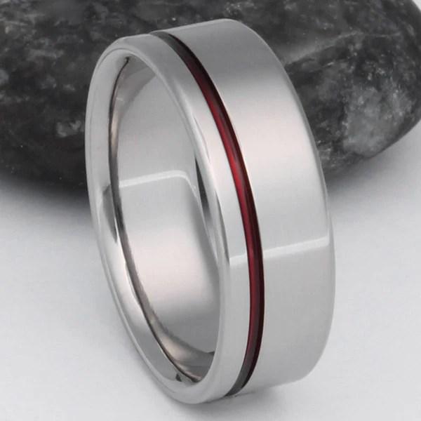 Thin Red Line Titanium Ring R2 Titanium Rings Studio