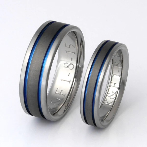 Matching Titanium Wedding Band Set Stsa12 Titanium