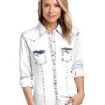 Panhandle Women S Pearl Snap Tencel Acid Wash Denim Shirt Lazy J Ranch Wear