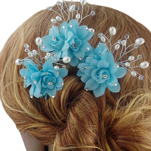 fancy sky blue hair pins hair sticks for wedding gifts are blue 1