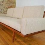 Mel Smilow Walnut Frame Mid Century Sofa With New Maharam Cobblestone Wool Upholstery