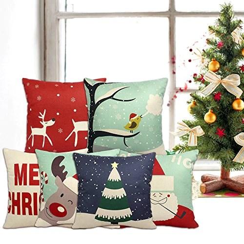 6 packs chirstmas pillows covers 18 x 18 christmas decor pillow covers christmas decorative throw pillow case sofa home decor