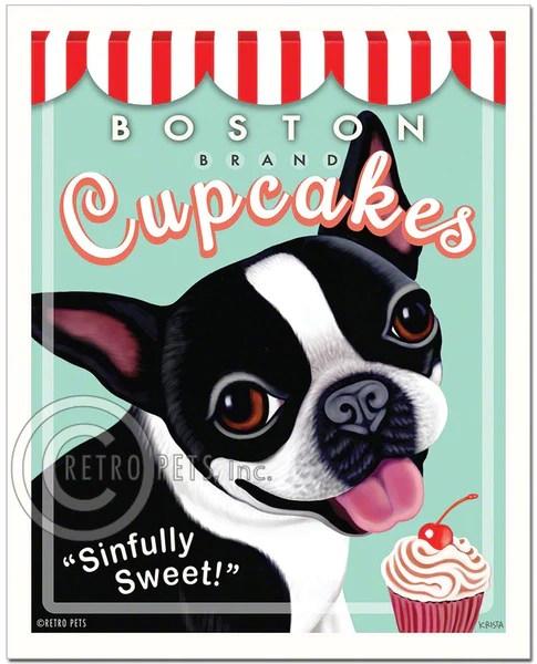 Boston Terrier Art quotBoston Brand Cupcakesquot Art Print by