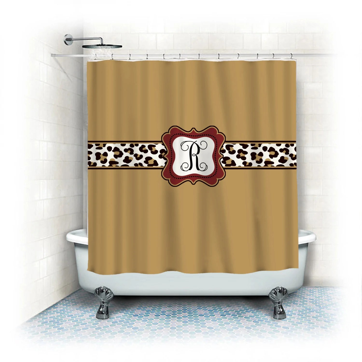 personalized shower curtain custom with your name or initials elegant gold with leopard accent