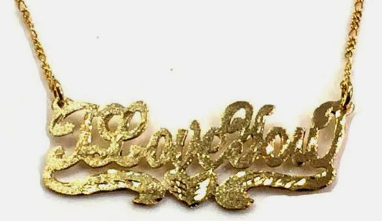 14k Gold Plate Personalized Iloveyou Single Plate Nameplate Necklace Comes With The Chain 1