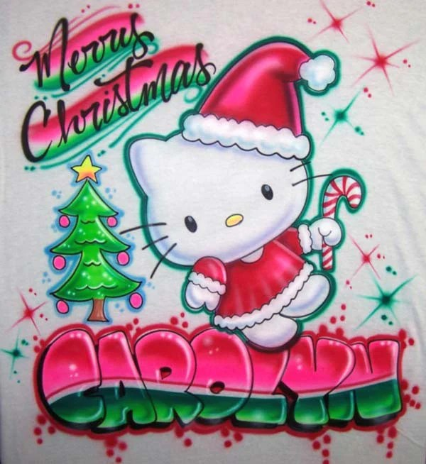 Hello Christmas Kitty Candy Cane Personalized Airbrushed T Shirt Or