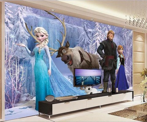 3D Ice Queen Elsa Frozen Cartoon Wallpaper for Walls Kids  Room     elsa frozen wall mural