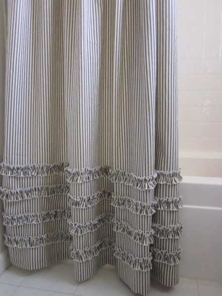 Vintage Ticking Stripe Shower Curtain With Ruffles Extra Long 72 X 96 Daniel Dry Goods