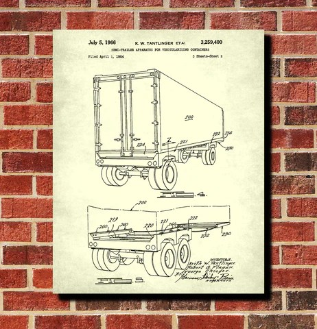shipping container patent print trucking blueprint poster