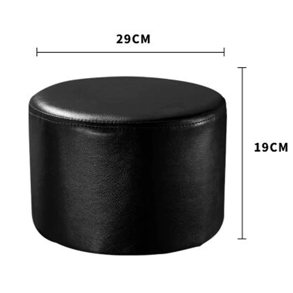 round faux leather modern small stool shoes stool sofa pier ottoman stool black