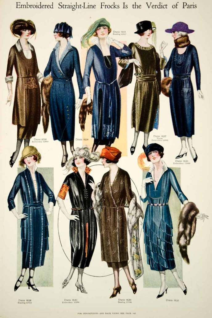 1920 Color Print 1920s Fashion Illustrations Women Flapper ...