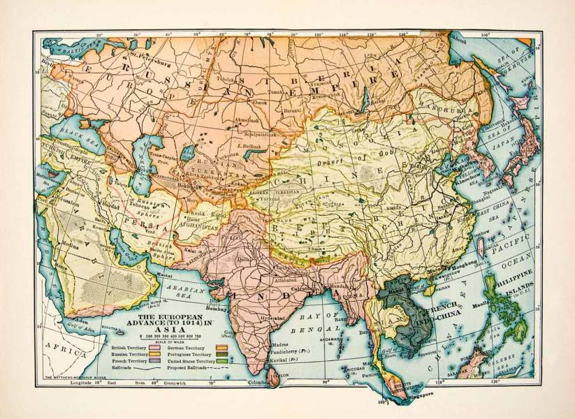 1930 Print Map European Territory Asia British Russian French German     1930 Print Map European Territory Asia British Russian French German XER6