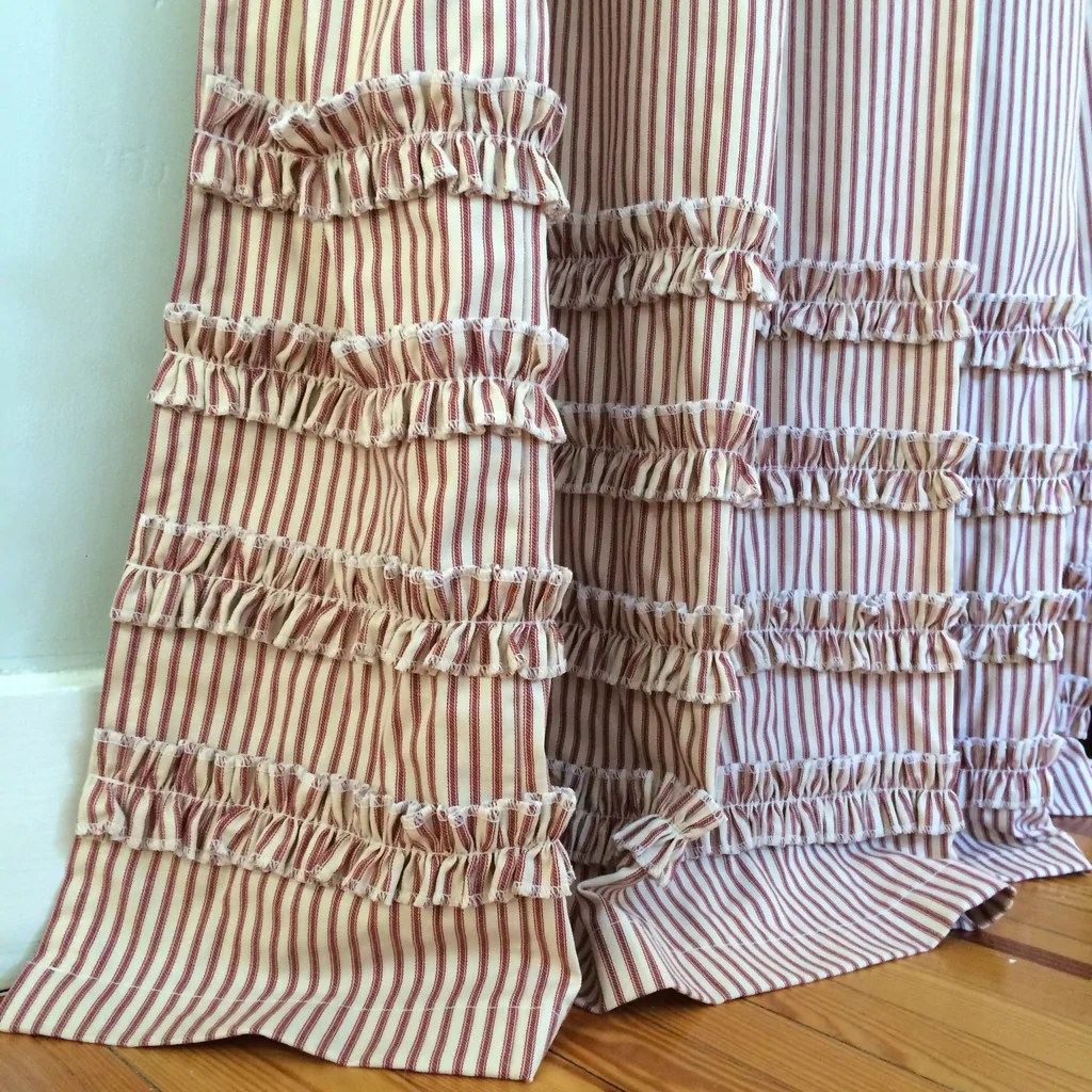 Ruffled Ticking Stripe Shower Curtain Red Southern Ticking Co