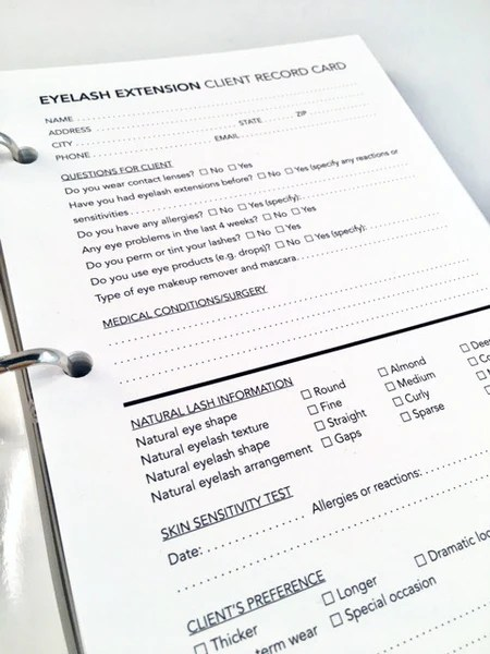 Client Record Cards Eyelash Extension The Salon Print Shop