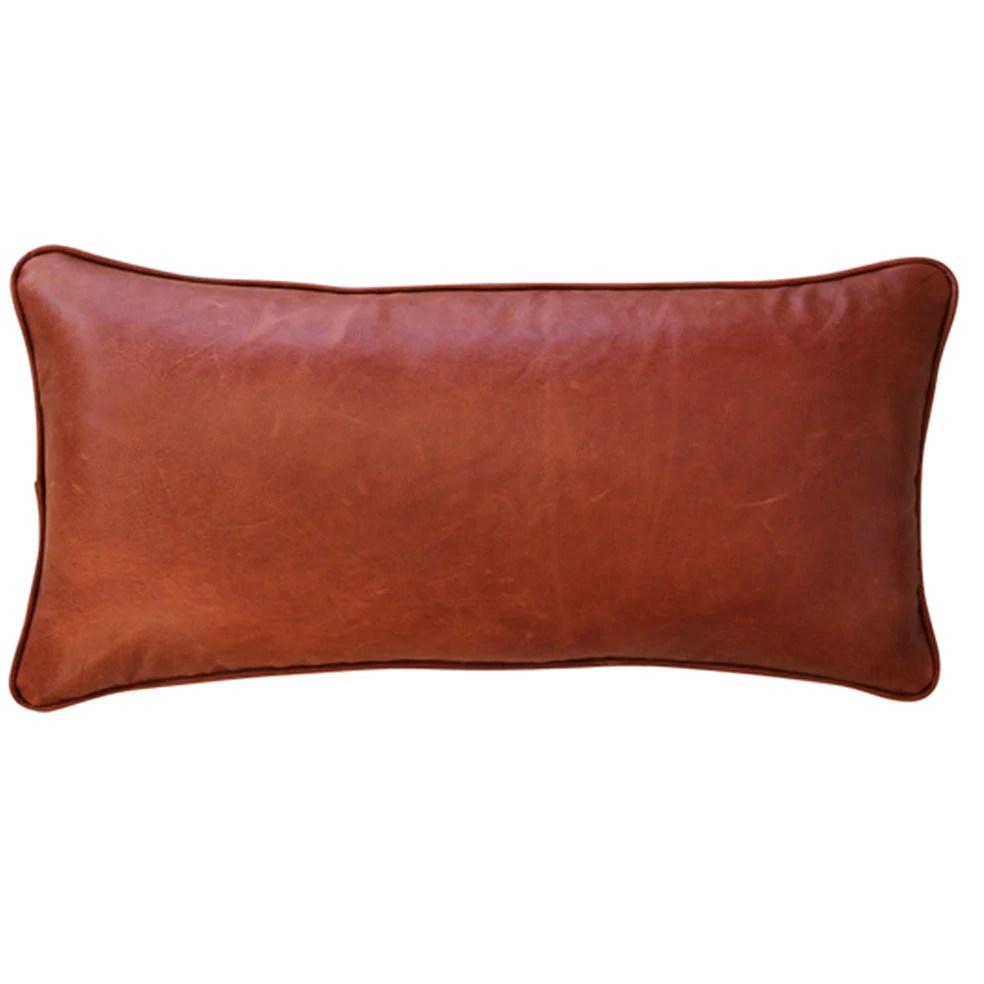 leather linen lumbar cushion