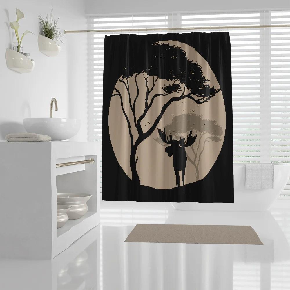 rustic moose silhouette shower curtain