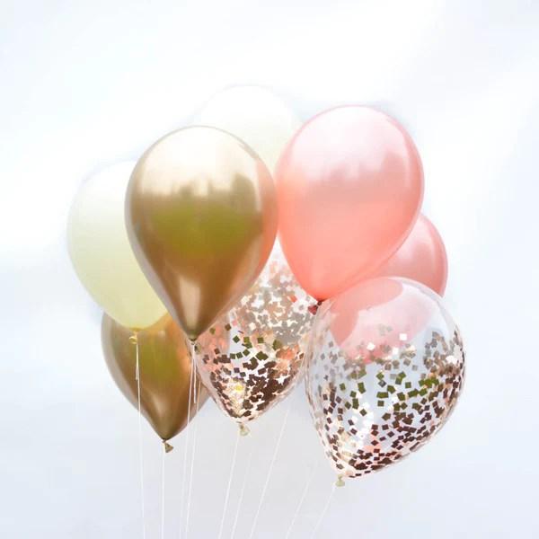 Rose Gold Confetti Balloon Bouquet Blushing Rose