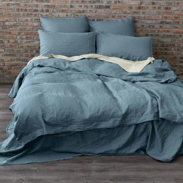 Buy King And Queen Size Linen Duvet Cover In French Blue