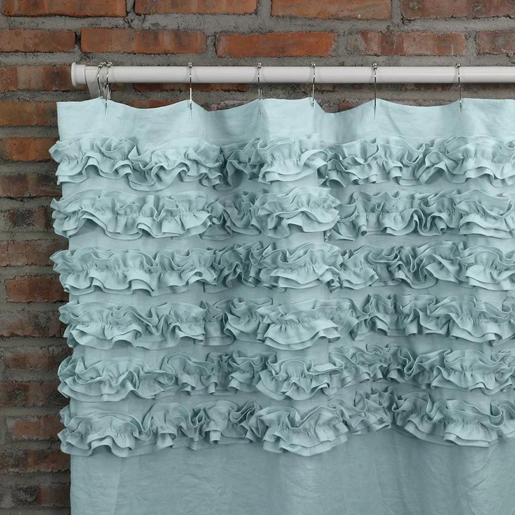 shabby chic ruffle linen shower curtain