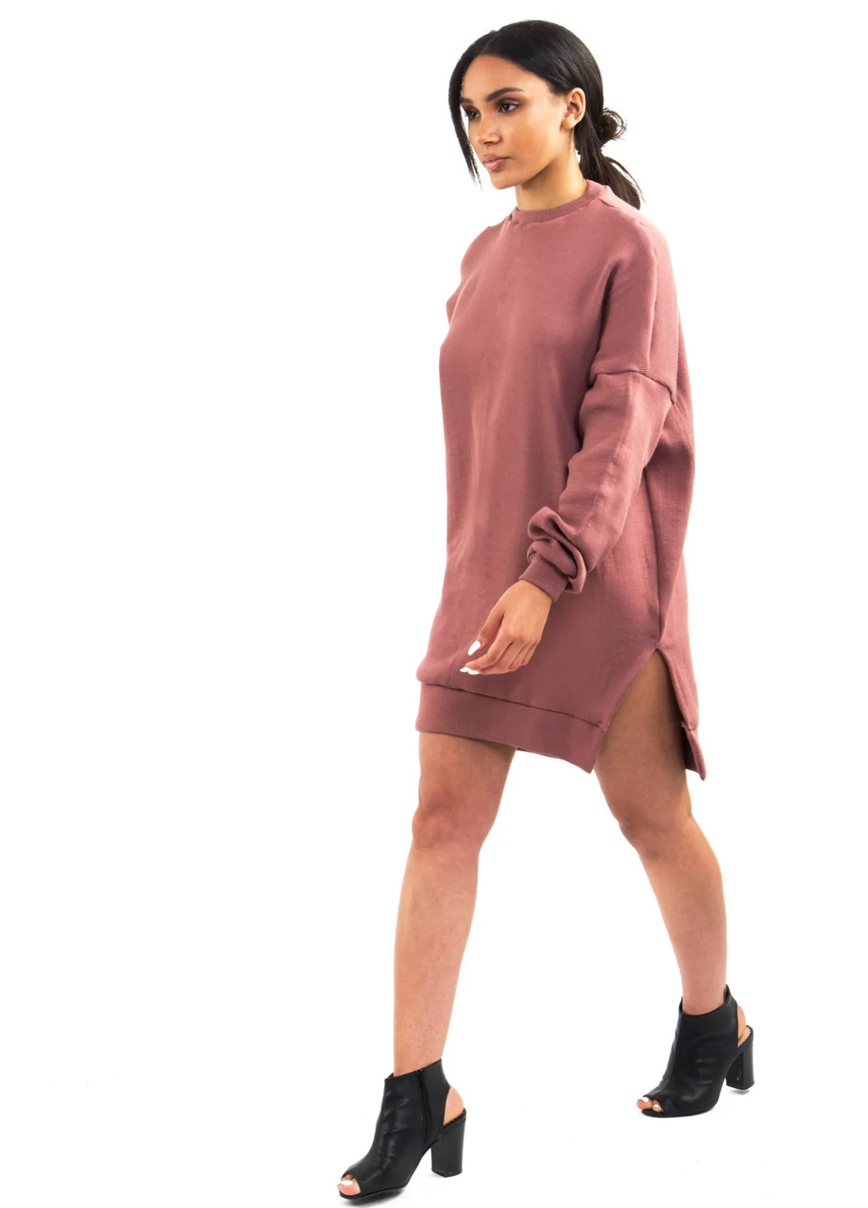 BRENTON Sweater Dress in Mauve