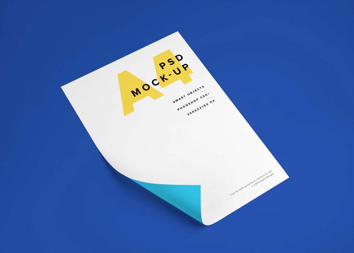 Download Free Folding White A4 Paper PSD MockUp - CreativeBooster
