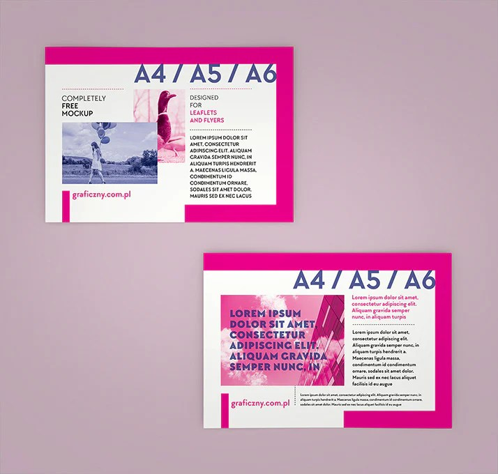 Looking for flyer mockup to promote your latest design? Free Horizontal A4 Or A5 Or A6 Leaflet Mockup Set Creativebooster