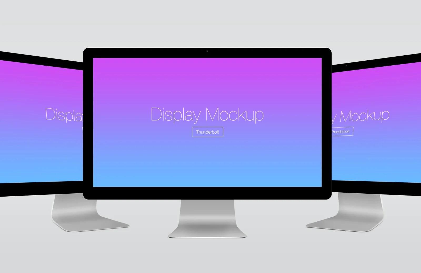 Free Thunderbolt Computer Pc Display Presentation Mockup