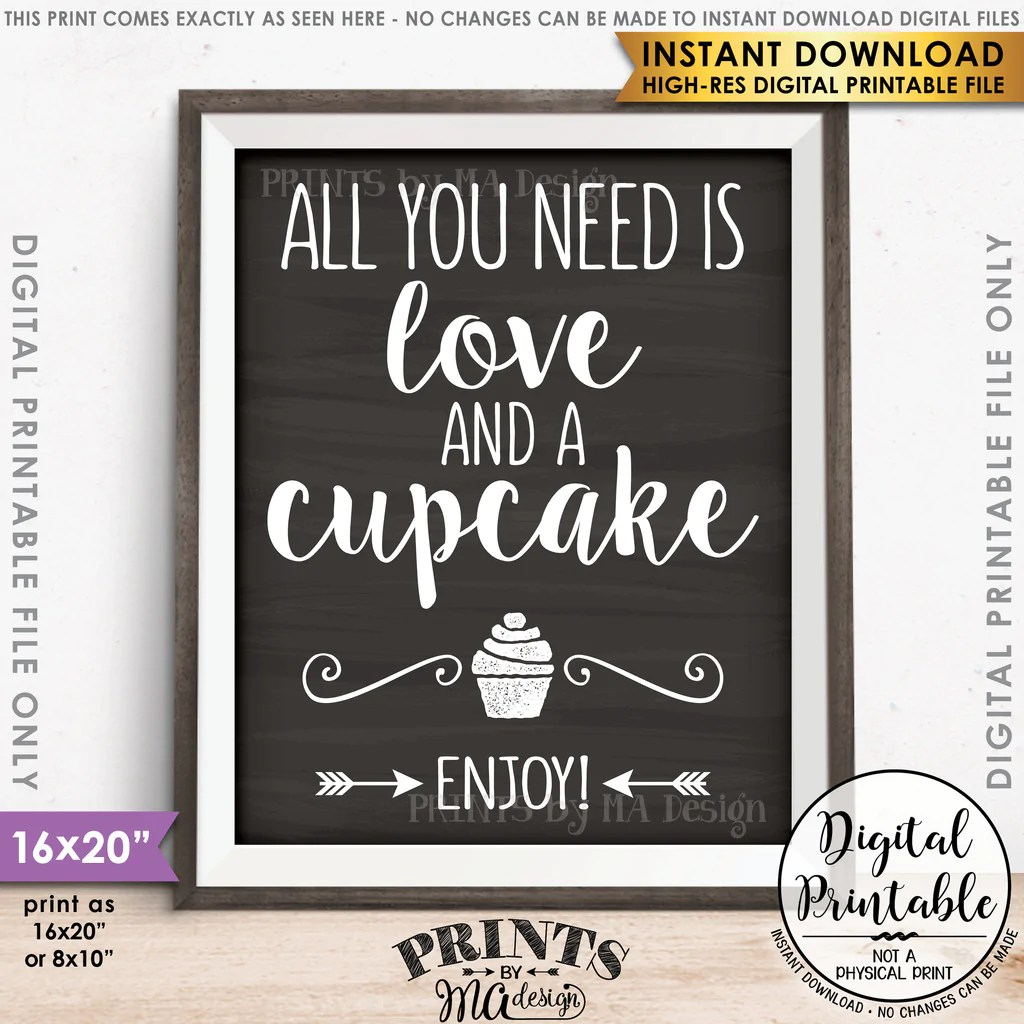 Download All You Need is Love and a Cupcake Sign, Wedding Reception ...