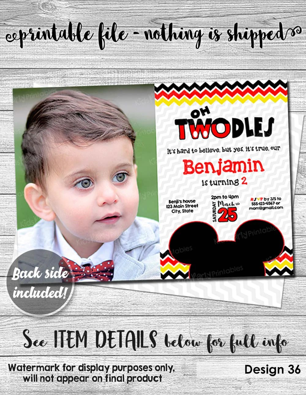 mickey mouse birthday invitation digital printable oh twodles invitation with photo mickey mouse invitation 2nd red second boy toodles