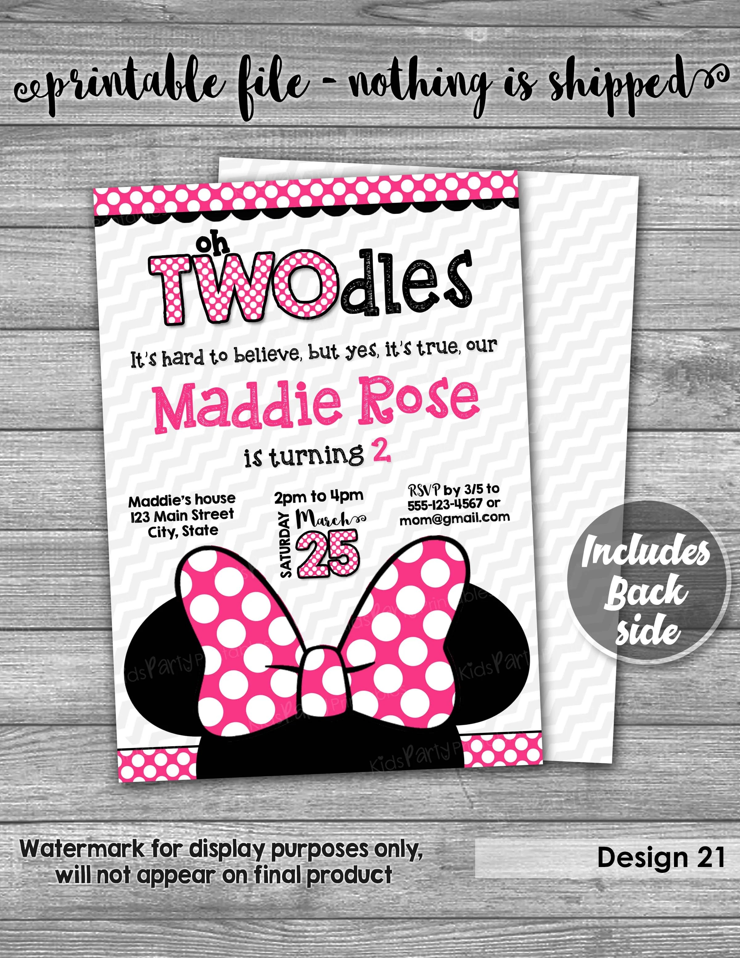 oh twodles invitation printable minnie mouse invitation oh twodles birthday oh toodles birthday second birthday girl two year old 2nd
