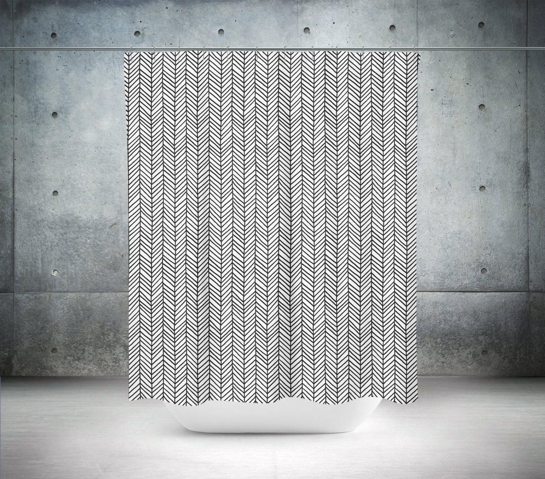 black herringbone shower curtain