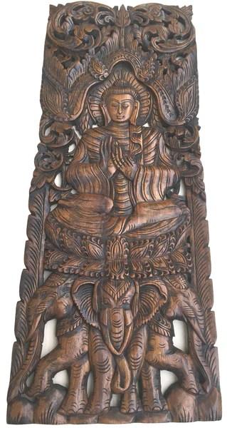 Large Carved Wood Panel Buddha On Elephants Wood Wall Art