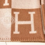 Hermes Large Camel Wool Cashmere H Avalon Blanket Throw Maison De Luxe