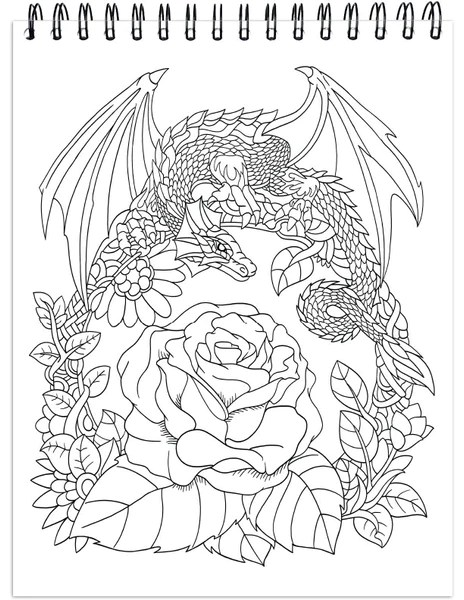 Colorit Colorful Dragons Adult Coloring Book 50 Single Sided Images