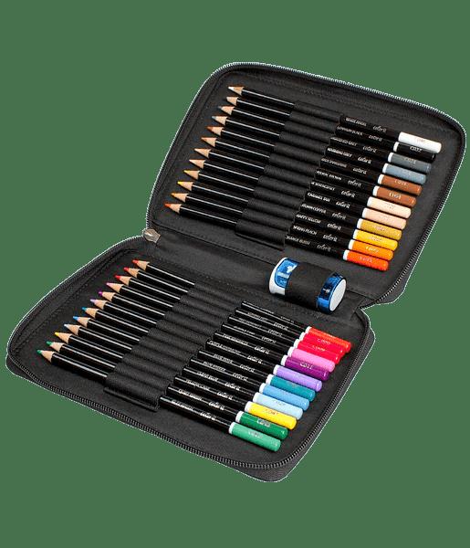 Premium 24 Colored Pencil Set With Case And Sharpener