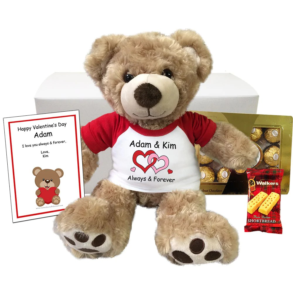 Personalized Valentine Teddy Bear Gift Set Say It With A
