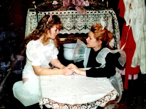 """Hold on... it's the storm, not you, that's bound to blow away,"" counsels Martha to Mary in The Secret Garden. Western High School, Las Vegas, NV, 1993."