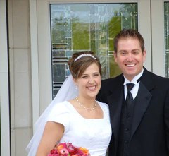 my handsome brother and his beautiful bride, 2008, Houston LDS Temple