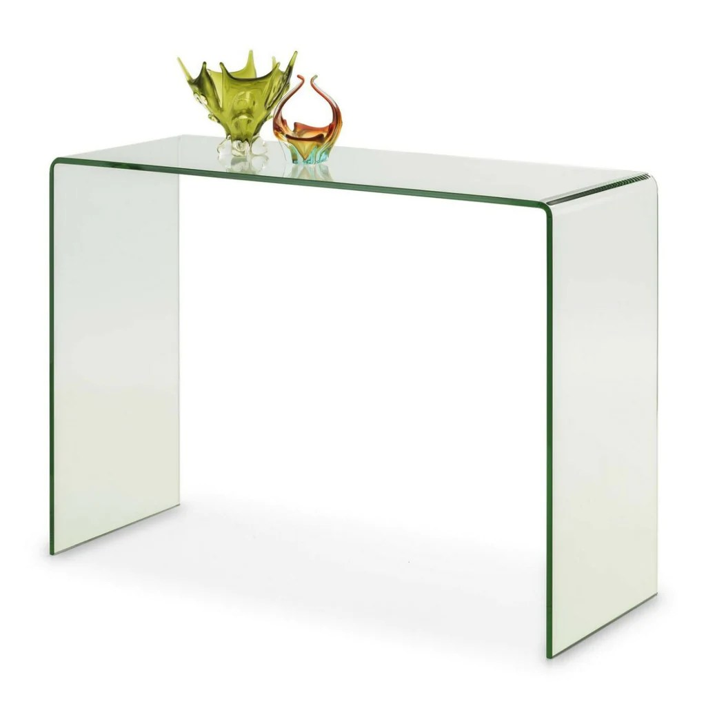 bow curved end console table large clear glass