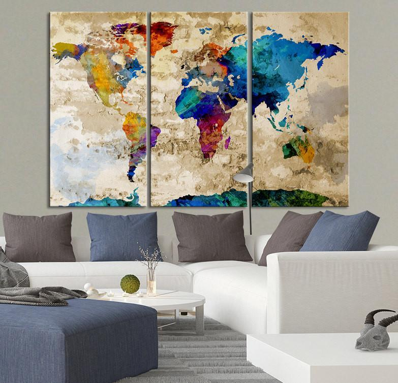 Canvas Art Print Watercolor World Map Contemporary 3 Panel Triptych Extra Large Wall Art Canvas Print