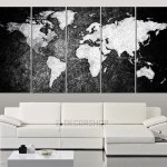 Large Canvas Art Black White World Map Canvas Print World Map 5 Extra Large Wall Art Canvas Print