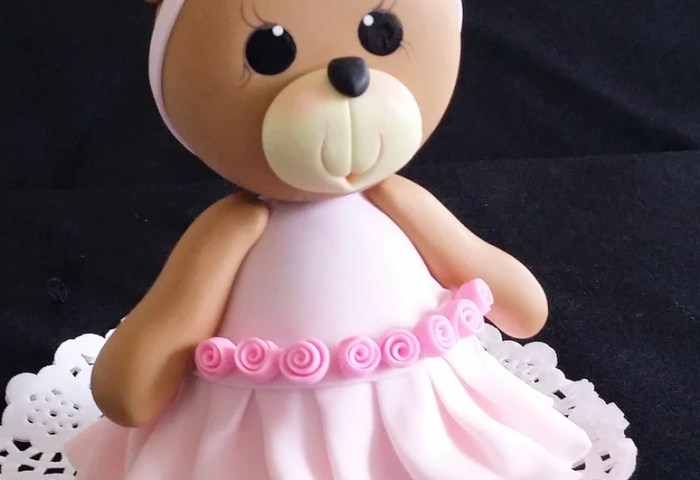 Pink Teddy Bear Cake Topper Baby Shower Birthday Cake Decoration